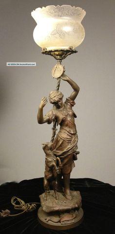 Antique Bronze Lady Figural Newel Post Lamp