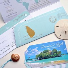 If you're planning a tropical getaway for your destination wedding you might want to consider sending your guests an extra special invitation. This custom Ticket Invite was designed with a matching Ticket Wallet and Luggage Tag. All based around the very special location of Taprobane Island in Sri Lanka #destinationstationery    #Regram via @destinationstationery
