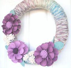 Spring Felt Flower Wreath Yarn and Felt Spring by CuriousBloom, $45.00