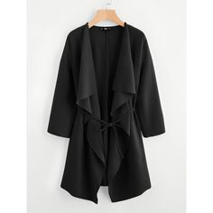 SheIn(sheinside) Waterfall Collar Pocket Front Wrap Coat ($21) ❤ liked on Polyvore featuring outerwear, coats, black, waterfall coats, wrap coats, drapey coat, drape coat and leather-sleeve coats
