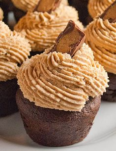 Gourmet-Reese's-Peanut-Butter-Cup-Cupcakes Recipe by Cupcakepedia, cupcake, dessert, cupcakes, food, peanut butter, buttercream frosting, ch...