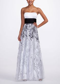 Strapless Prom Dress with Glitter Print Skirt - David's Bridal- mobile