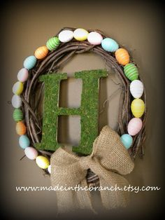 Easter Wreath with Moss Covered Monogram and Coordinating Easter Egg Design    #Easter #EasterEggs
