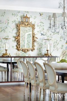 Gracie wallpaper and gorgeous gold lamp in dining room