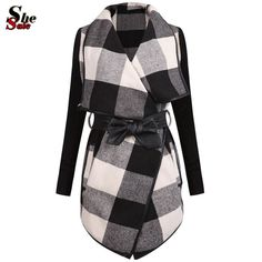 Aliexpress.com : Buy 2015 Casaco Feminino Autumn Fashion Brand Design Women Outer Clothing Casual Splicing Black White Long Sleeve Plaid Belt Coat from Reliable coats 2020 suppliers on Sheinside Fashion Discount    Alibaba Group