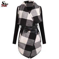 2016 moda ropa exterior de mujer primavera Brand Design Ladies Trench Coat Casual empalme negro blanco Plaid manga larga de la capa del cinturón en Lana y Mezcla de Moda y Complementos Mujer en AliExpress.com | Alibaba Group