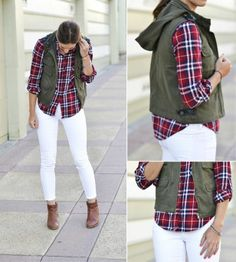 How to Wear White Jeans This Fall: white skinnies + a plaid flannel + a fitted cargo vest + neutral ankle booties White Skinnies, White Pants, White Denim, White Maxi, White Plaid, Red Plaid, Outfits Mujer, Vest Outfits, Fall Winter Outfits