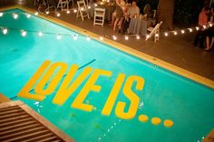 Makes me want a poolside wedding.. that lasts all day and the reception comes first and we all drink and swim and eat good food and then say our vows at sunset. <3 Fun and funky pool decor for your backyard wedding   Offbeat Bride