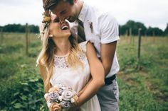 Relaxed, laughing, candid shots of bride and groom, background fields, rural