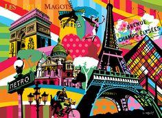 Paris   Lobo   Pop Art #paris #popart www.lobopopart.com