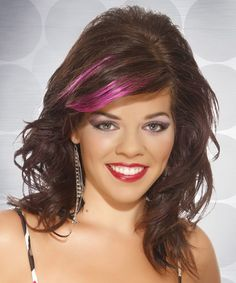 Medium Wavy Casual Hairstyle - Chocolate Brunette Hair Color with Pink Highlights Salon Hairstyle: C Oval Face Hairstyles, Wavy Bob Hairstyles, Casual Hairstyles, Latest Hairstyles, Haircuts, Hair Styles 2014, Medium Hair Styles, Curly Hair Styles, Brown Hair With Pink Highlights