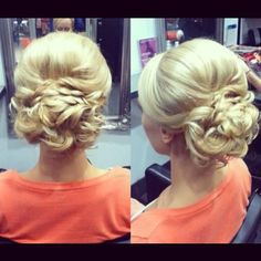 "Lovely Bridal Updo- this looks just like the one I am doing, I like how a few pieces in the back are loose though- not ""too"" perfect"