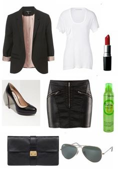 Top Gun`s Charlie inspired outfit.  Topshop blazer.  Kain Label White S Classic Pocket Tee.  H faux leather mini skirt.  Miu Miu black pumps.  MAC Russian Red lipstick.  Matrix Curl Life Mousse.  Mulberry Harriet black leather clutch.  Ray Ban aviator sunglasses.