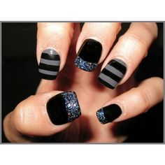 Black Grey Mani Nail Art Gallery ❤ liked on Polyvore featuring nails, makeup, nail art and unhas