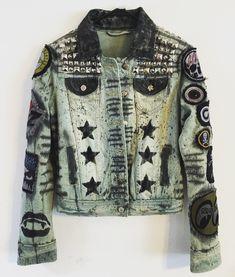 Distressed denim jacket from Chad Cherry Clothing. Rocker Jacket. Punk Rock Jacket.