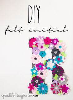 DIY Felt Initial created using the Sizzix Big Shot and  Sizzix Bigz Die - Flower Layers #15. Project by Spoonful of Imagination. http://spoonfulofimagination.com/diy-felt-initial/
