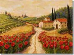 "Fine Art Tuscan Landscape Tumbled Marble Tile Mural and Backsplash x - ""Red Poppy Road"" by Joanne Morris - Perfect for kitchens, backsplashes, showers and other interior spaces. Landscape Prints, Landscape Art, Landscape Paintings, Tuscany Landscape, Decorative Tile Backsplash, Kitchen Backsplash, Backsplash Ideas, Shower Backsplash, Wall Tile"