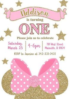 Minnie Mouse Pink Gold Birthday - Pink And Gold Minnie Mouse Birthday Invitations Minnie Mouse Birthday Decorations, Minnie Mouse Birthday Invitations, Minnie Mouse First Birthday, Minnie Mouse Theme, Pink Invitations, Invitation Wording, Invitation Maker, Mickey Birthday, Photo Invitations