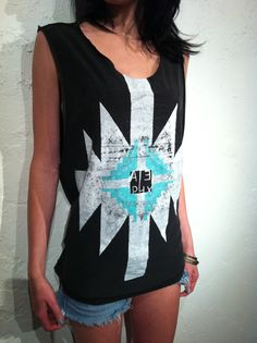 Native American Shirt Handpainted Turquoise Unisex