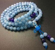 Mini Mala- Aquamarine Mala Beads