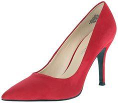 7cf7b1bdb0 Nine West Women's Flax Suede Dress Pump, Red Suede, 7.5 M US. Pointed