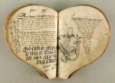 This manuscript is considered one of the treasures of the Royal Library in Denmark. It is referred to as The Heart Book and is regarded as the oldest Danish ballad manuscript. It is a collection of 83 love ballads compiled in the beginning of the 1550's. The beginning of ballad No. 43 is shown above. Via The Royal Library of Denmark.