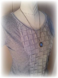 Upcycled Basket Weave T-shirt tutorial by Upcycled Design Lab.