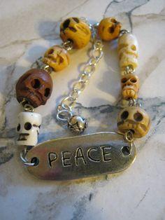 Peace Skull ID Bracelet by jansbeads on Etsy, $24.50 #goth #skulls #peace #halloweenartistbazaar