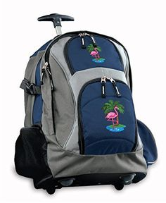 FLAMINGO Rolling Backpack Deluxe Navy Pink Flamingos Backpacks Bags with Wheels * You can get additional details at the image link.