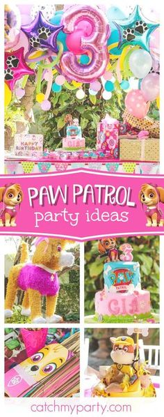 What a great Pawrty!! Take a look at this cool Paw Patrol birthday party! Love the birthday cake!! See more party ideas and share yours at CatchMyParty.com #partyideas #catchmyparty #pawpatrol #dogs #girlbirthday
