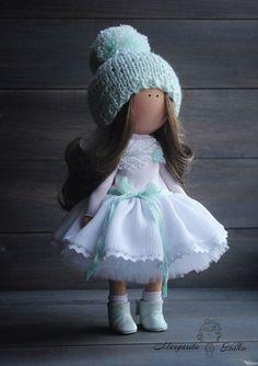 Soft doll handmade Angel White Turquoise by AnnKirillartPlace
