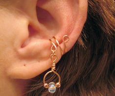 Non Pierced Firelight Dangle Ear Cuff 1 Cuff by ArianrhodWolfchild, $10.00