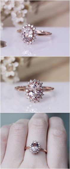 6x8mm Vintage Morganite Ring 14K Rose Gold Pave Milgrain Diamonds Morganite Engagement Ring / http://www.deerpearlflowers.com/engagement-rings-from-etsy/