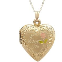 "14k Gold I Love You Heart Locket, Women's, Size: 18"", Yellow (13,930 PHP) ❤ liked on Polyvore featuring jewelry, pendants, yellow, i love jewelry, yellow jewelry, gold heart locket, gold locket and gold jewelry"