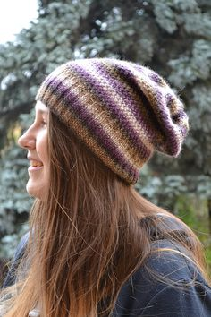 Knitted multicolor acrylic beani cap hat by DosiakStyle on Etsy