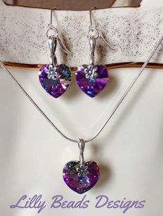 These would make a Wonderful Christmas Present #etsy shop: Purple Swarovski Jewelry Set,Purple Crystal Set,#Swarovski Heart Dangle Earrings,Swarovski Heart Pendant Necklace,Purple Heart Crystals,OOAK #jewelry #purple #silver #SwarovskiJewelrySet