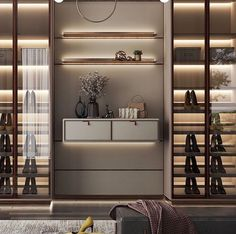 Light beige tones and extensive usage of leather panels create a cozy and elegant atmosphere. Bedroom Closet Design, Wardrobe Design, Closet Designs, Bedroom Decor, Luxury Interior, Modern Interior, Interior Architecture, Interior Design, Wardrobe Closet