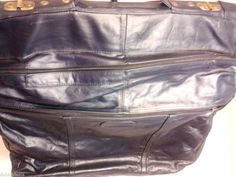 Vintage Mexican Leather Travel Bag Garment Bag Shoulder Bag, Dark Blue.   $48.63
