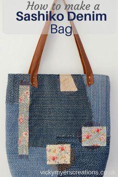 How to make a Sashiko Denim Tote Bag :http://vickymyerscreations.co.uk/tutorial-2/how-to-make-a-sashiko-denim-tote-bag/