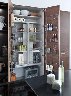 Kitchen Design, Modern Kitchen Designs With Modern Brown Kitchen Cabinet With Cool Shelves Design On It Also Sauce Bottle Also Milk Boxes Dr...