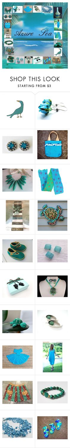 """Azure Sea: Handmade & Vintage Gift Ideas"" by paulinemcewen ❤ liked on Polyvore featuring vintage"