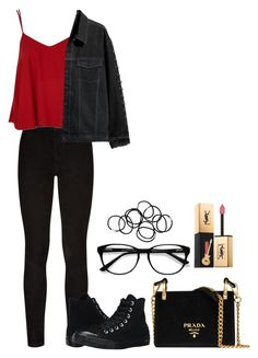 """""""Untitled #692"""" by ayalikeschicken ❤ liked on Polyvore featuring Paige Denim, Topshop, Converse, Prada, Yves Saint Laurent, EyeBuyDirect.com and Monki"""