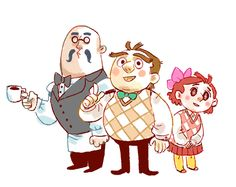 Humanized Brewster, Blathers, and Celeste