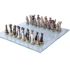 """Check out the deal on 3 1/2"""" Romans v.s Egyptians Polystone Chess Set w/ Board at Your Move Chess & Games"""