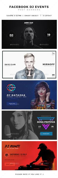 DJ Events Facebook Post Banner  PSD Template • Download ➝ https://graphicriver.net/item/dj-events-facebook-post-banner/14411579?ref=pxcr