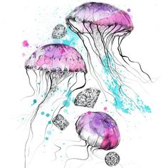 Jellyfish Art, Illustration Art, Texture, Patterns, Tattoos, Prints, Poster, Instagram, Water Animals
