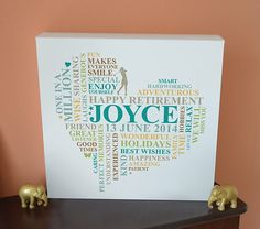 Canvas Retirement print. Personalised unique word art gift. Heart present.