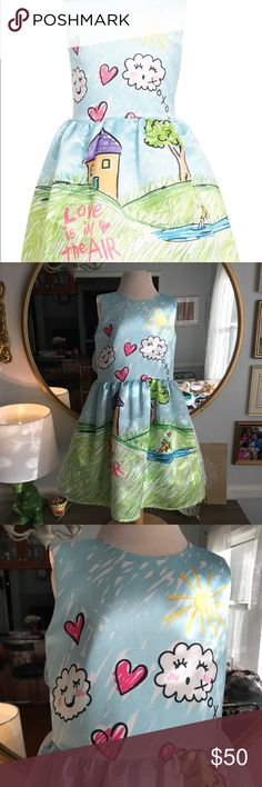 ✨HALABALOO Graphic Sleeveless Dress✨ ✨Perfect Condition Worn Only A Few Times✨Bright, playful graphics inspired by childhood artwork add irresistible charm to a sleeveless satin dress completed with a flouncy tulle-lined skirt. Back zip closure. Lined. 100% polyester. Hand wash cold, line dry. By Halabaloo; imported. Halabaloo Dresses Formal