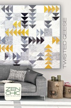 This pattern by Brigitte Heitland of Zen Chic is made with various 1/2 yard pieces of fabric. Finished quilt is 65 x 65.