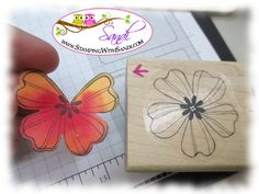 The Flower Shop Butterfly - I just love it when you can use a stamp in a way not originally intended!  Also love the embossing and the use of the hexies on this card.  Need to try this straw technique